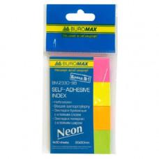 Закладки самоклеющиеся BUROMAX бумажные 50х20 мм 4 цвета по 30 листов неон (BM.2330-98)