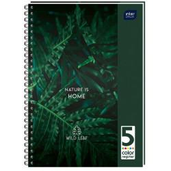 Блокнот InterDRUK А5 на пружине с микроперфорацией 5 цветных разделителя клетка 100 листов (173553)