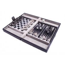 Дорожный игровой набор из 3 игр в кожаном кейсе (шахматы, шашки, нарды) (SG1150)