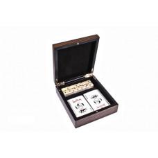 Карты игральные и домино в деревянной шкатулке (DB22)