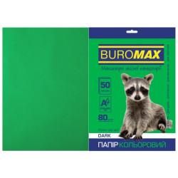Бумага цветная офисная Buromax А4 80 г/м2 50 листов DARK темно-зеленая (BM.2721450-04)