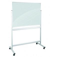 Маркерная доска стеклянная 90x120 см 2x3 мобильная черно-белая магнитная (TDSZ129)