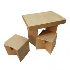 Набор Мой уголок (детский столик + 2 табуретки) из гофрокартона (x00237)