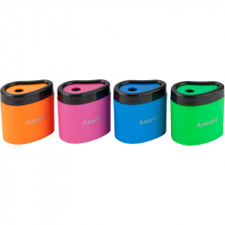 Точилка Axent Neon soft с контейнером пластик ассорти (1158-А)