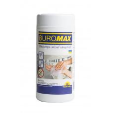 Салфетки антисептические влажные BuroMax 100 штук в пластиковой тубе (BM.0805)