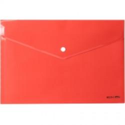 Папка-конверт на кнопке Economix А4 пластиковый прозрачный красный (E31301-03)