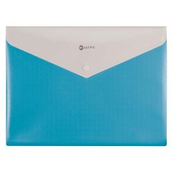 Конверт на кнопке Optima А4 пластик на 2 отделения голубая (O35206-11)