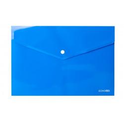Папка-конверт на кнопке Economix А4 пластиковый прозрачный синий (E31301-02)