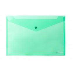 Папка-конверт на кнопке Economix А4 пластиковый прозрачный зеленый (E31301-04)