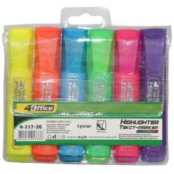 Набор маркеров текстовых 4Office 6 цветов (4-117-26)