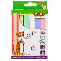 Мел цветной квадратный KIDS Line 12 штук 6 цветов в картонной коробке (ZB.6703-99)