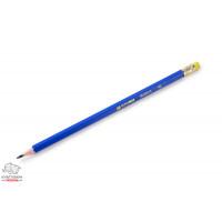 Карандаш чернографитный BuroMax HB с ластиком пластиковый синий Арт. BM.8514
