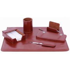Набор офисный настольный Cabinet 6 предметов искусст. кожа коричневый Арт. O36480