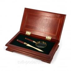 Набор офисных аксессуаров Albero Ode в деревянном футляре лупа + нож для конвертов Арт. S77-101LG