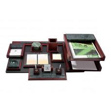 Набор офисный настольный Bestar 9 предметов мрамор + красное дерево Арт. 9277WDM