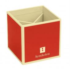 Подставка для карандашей Semikolon 4 отделения 9х9х9 см цвет красный Арт. 35700-04