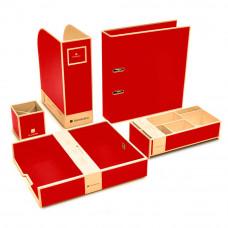 Набор канцпринадлежностей Semikolon 5 предметов цвет красный