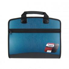 Портфель пластиковый Axent А4 на молнии 4 отделения синий металлик Арт. 1621-12-A