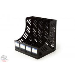 Лоток для бумаг вертикальный Economix 4 отделения пластик черный Арт. E31902-01