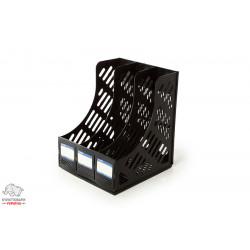 Лоток для бумаг вертикальный Economix 3 отделения пластик черный Арт. E31903-01