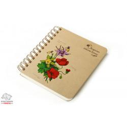 Блокнот Optima Цветы Украины В6+ боковая спираль 100 листов обложка крафт-картон Арт. O20363-03