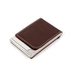Визитница-кляссер кожзам + металл коричневая Арт. 62-4 0601009