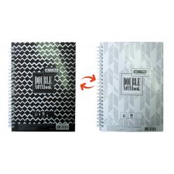 Блокнот А5 96 листов клетка Double BuroMax твердый переплет черный на спирали ВМ.24571101-01