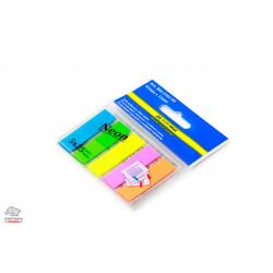 Закладки самоклеящиеся BuroMax пластиковые 45х12 мм 5 цветов по 25 листов неон Арт. BM.2302-98