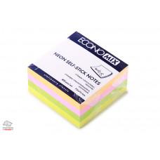 Бумага для заметок с клейким слоем Economix  75х75 мм 400 листов 4 цвета неон Арт. E20949