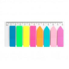 Закладки самоклеящиеся Delta by Axent пластиковые 45х12 мм 8 блоков по 25 листов прямые+стрелка Арт. D2451
