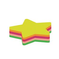 Бумага для заметок с клейким слоем Economix Звезда 45 х 50 мм 80 листов неоновый микс Арт. E20955