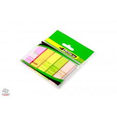 Закладки самоклеящиеся 4Office бумажные 50х12 мм 5х30 шт неон Арт. 4-428