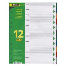 Разделитель страниц цветной 1-12 4Office А-4 PP Арт. 4-254 03080410