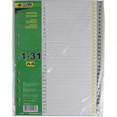 Разделитель страниц цифровой 1-31 4Office А4 пластиковый Арт. 4-255 03080420