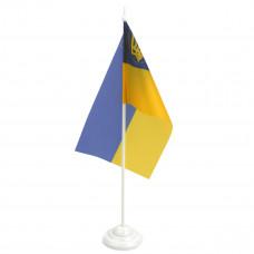 Флажок Украины настольный с подставкой 12х24 см