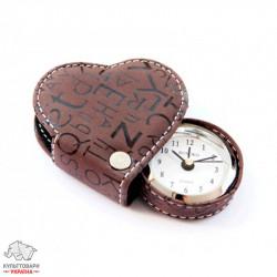 Будильник-сердечко Runoko Heart Brown в футляре CB-Brown шоколад