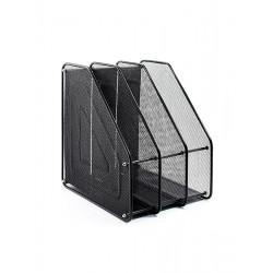 Лоток для бумаг вертикальный Leader 3 отделения металл. сетка черная Арт. FS-05/Z022