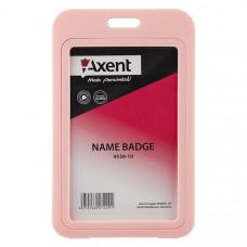 Бейдж Axent вертикальный PP 70х110 мм розовый (4530-10-А)
