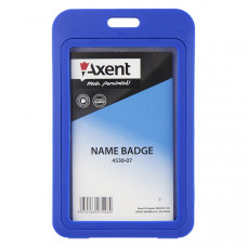 Бейдж Axent вертикальный PP 70х110 мм синий (4530-07-А)