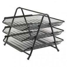 Лоток для бумаг горизонтальный Axent 3-х ярусный металлическая сетка черная Арт. 2122-01-А
