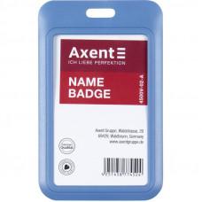 Бейдж-слайдер Axent вертикальный ABS пластик 54х85 мм синий  (4500v-02-A)