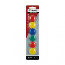 Набор магнитов Axent d 3 см 6 штук цветных Арт. 9821-A
