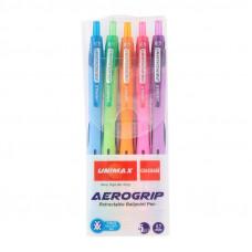 Набор автоматических шариковых ручек Unimax Aerogrip-3 5 цветов 39862 (UX-140-20)