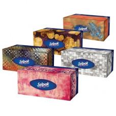 Салфетки бумажные Selpak Макси Микс трехслойные в коробке 100 шт