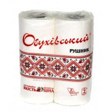 Полотенца бумажные рулонные Обуховские 2-х слойные белые /упак. 2 рулона/